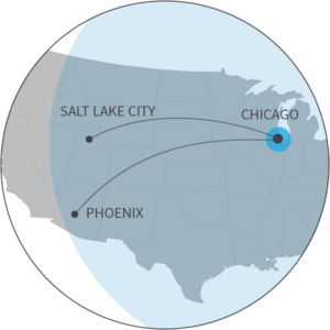 Range map for the M350 displaying the distance from Chicago to Salt Lake City or Phoenix