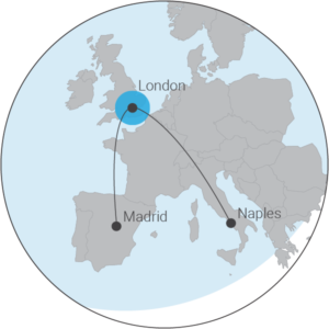 Range map for the M350 displaying the distance from London to Madrid or Naples
