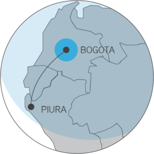 Range map for the Seneca displaying the distance from Bogota to Piura
