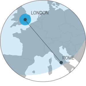Range map for the Seneca displaying the distance from London to Rome