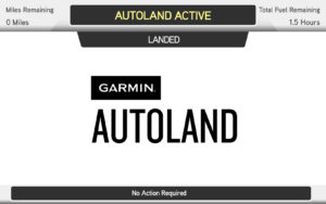 "Screen that says ""Landed. Garmin Autoland."""