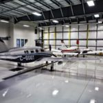 M350 and Seneca inside of a hangar