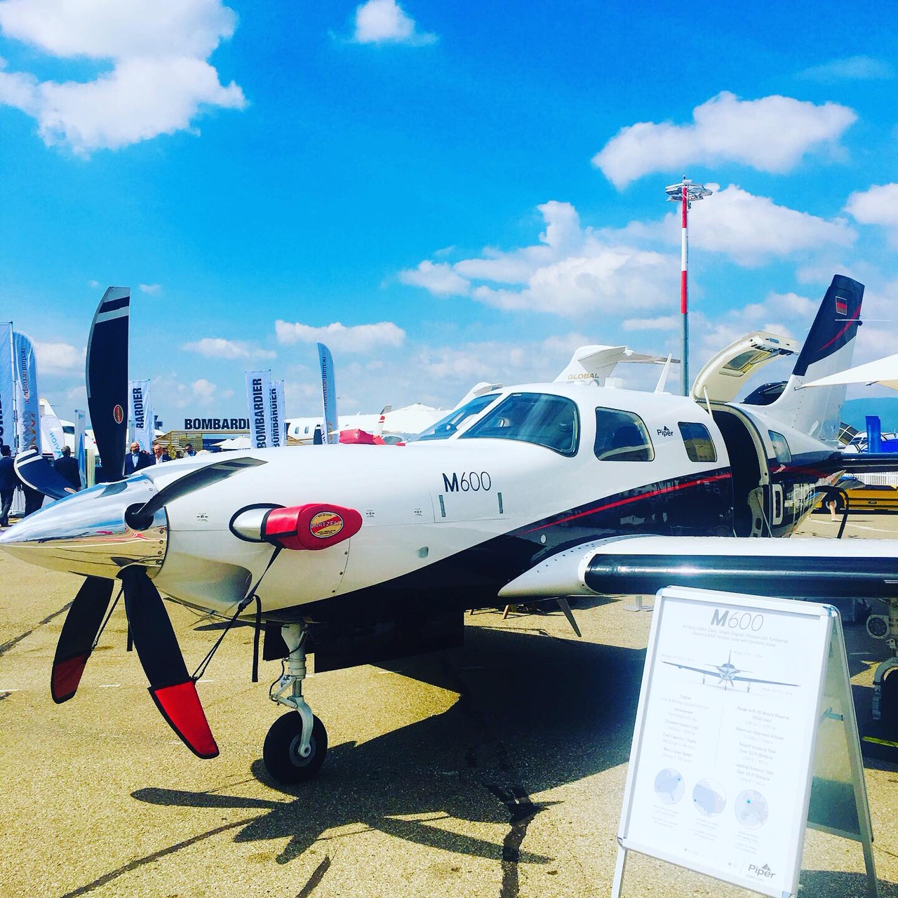 Piper M600 aircraft at a tradeshow event
