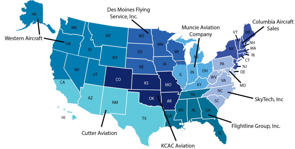A map of the United States showing different Piper Aircraft dealers