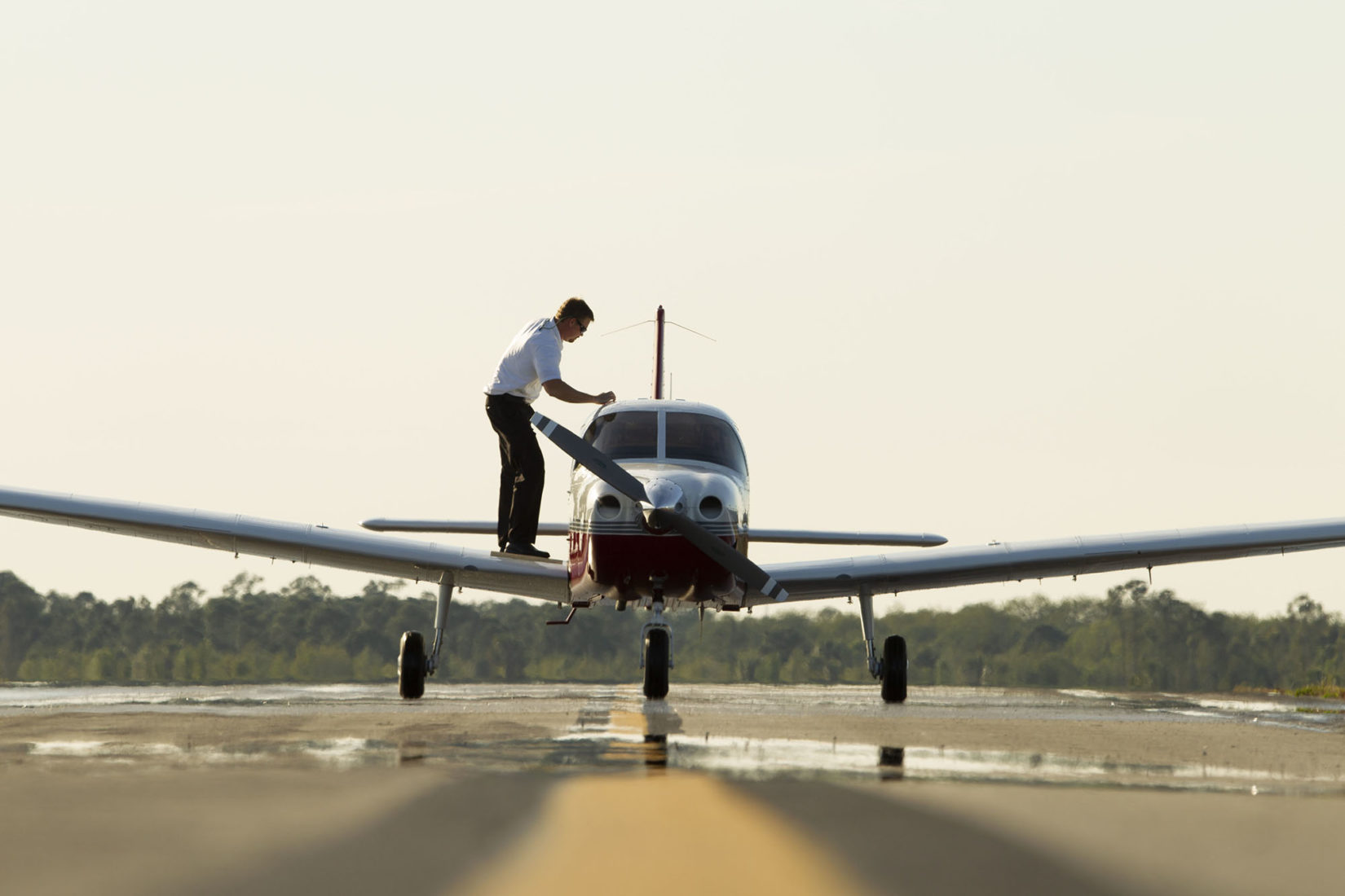 Technician working on a Piper Aircraft